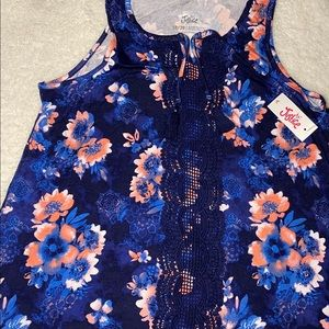 Justice blue tank top with pink flowers